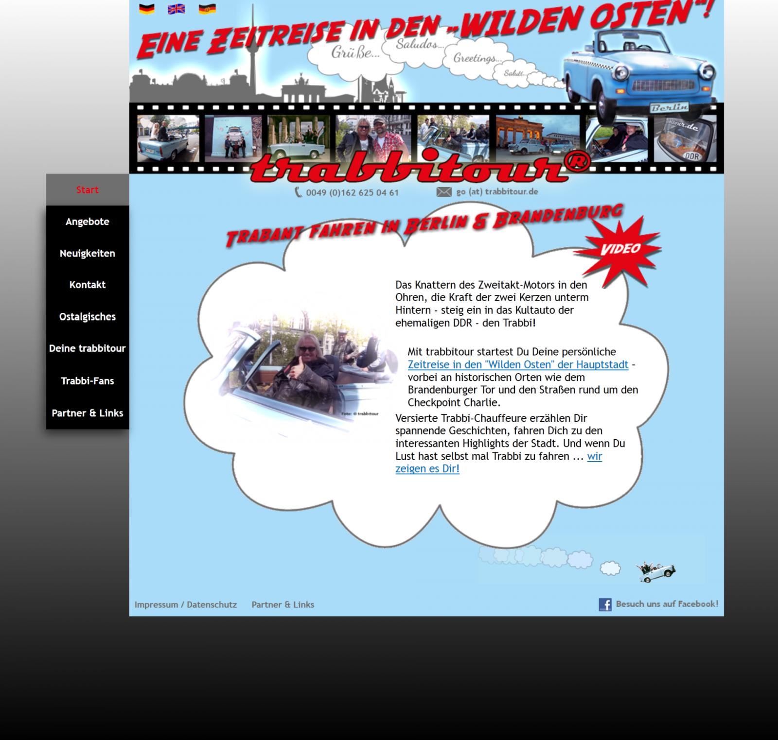 webdesign events berlin, webdesign touritinformation, design webseite trabbi fahren