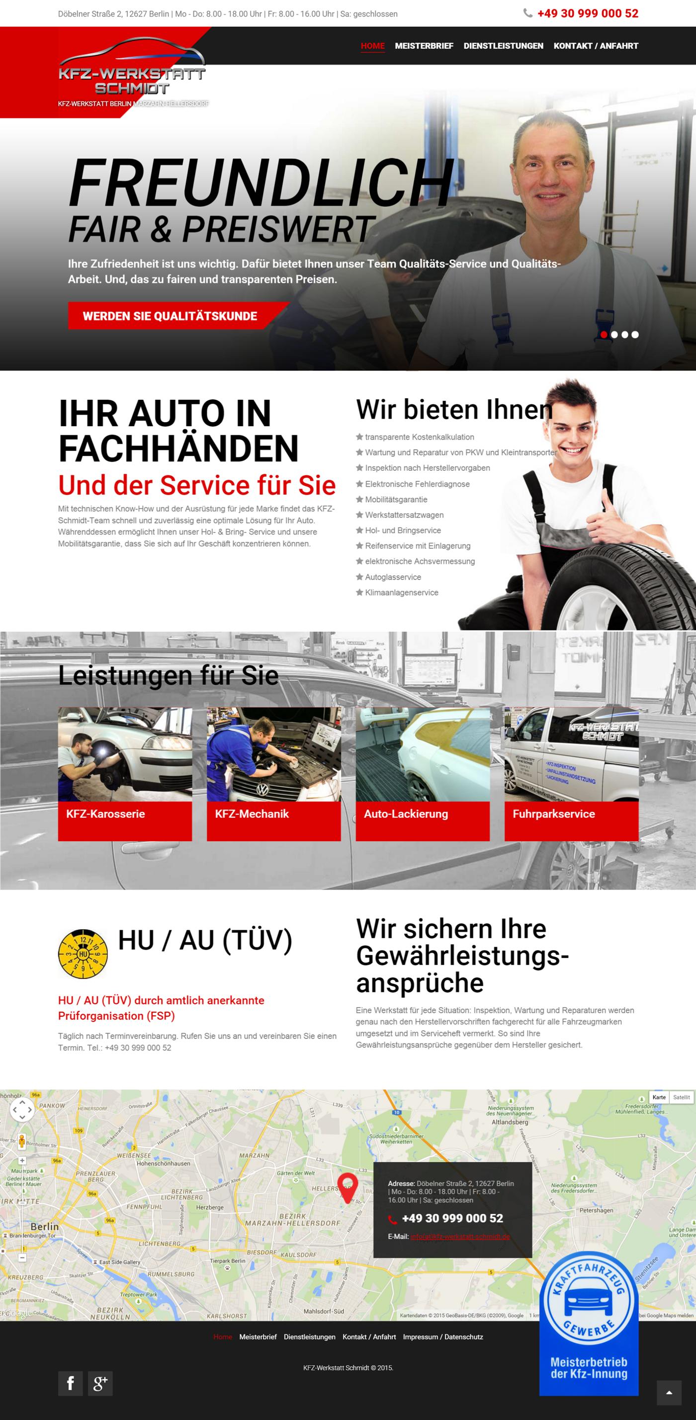 kfz autowerkstatt kfz-betrieb design webseite